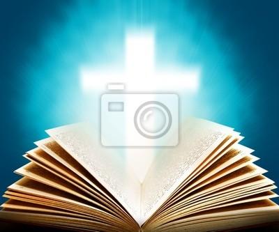 Plakat Biblia i krzyż