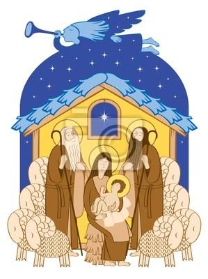 Plakat biblijne sceny Bożego Narodzenia