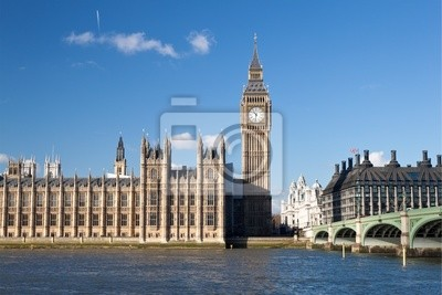 Plakat Big Ben, Houses of Parliament i Westminster Bridge w