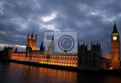 Plakat Big Ben i Houses of Parliament na zmierzchu