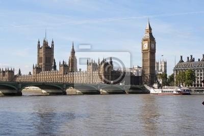 Plakat Big Ben i Westminster Bridge w Londynie
