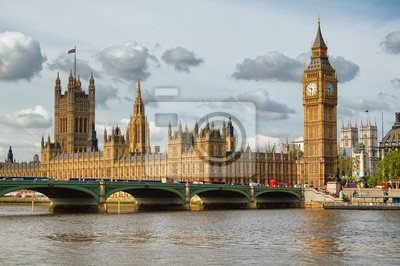 Plakat Big Ben i Westminster Bridge w Londynie w piękny dzień