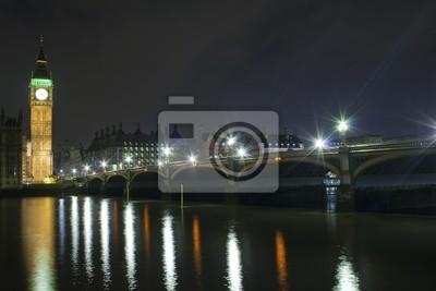 Plakat Big Ben i Westminster Bridge w nocy