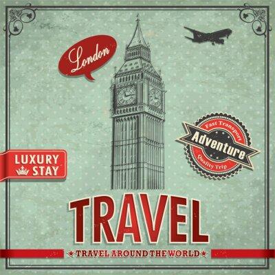 Big Ben w stylu vintage Plakat wakacje