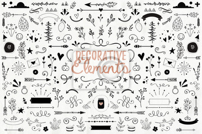 Plakat Big collection of decorative elements: banners, arrows, leaves, flowers, flourishes
