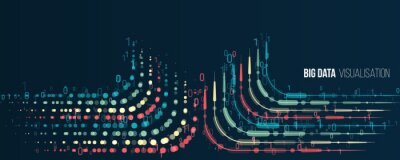 Plakat Big data visualization banner. Abstract background with lines array and binary code. Connection structure. Data array visual concept for website. Big data connection complex.