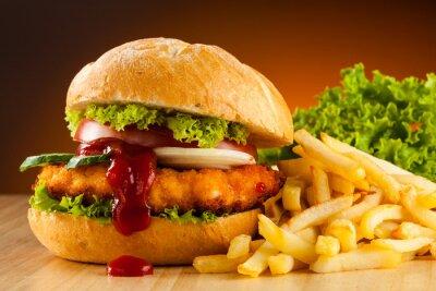 Plakat Big hamburger, frytki i warzywa