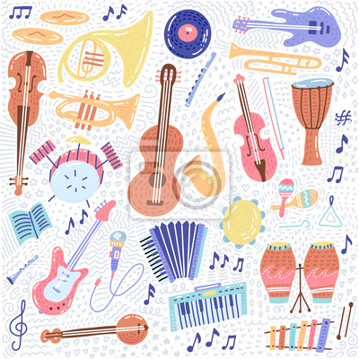 Plakat Big Music set musical instrument and symbols icons collections. Cartoon sound concept elements. Music notes with Piano, Guitar, Violin, Trumpet, Drum, Saxophone and Harp. Hand drawn doodle Vector