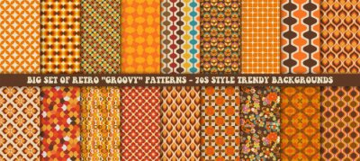Plakat Big set of 18 colorful retro patterns. Vector trendy backgrounds in 70s style. Abstract modern geometric and floral ornaments, vintage backgrounds