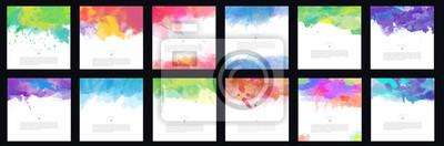 Plakat Big set of bright colorful vector watercolor brush background design elements