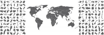 Plakat big set of countries maps and world map with countries borders