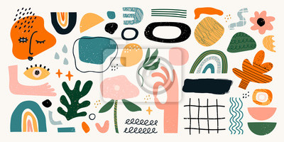 Plakat Big set of hand drawn various shapes and doodle objects. Abstract contemporary modern trendy vector illustration. All elements are isolated