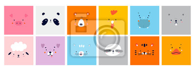 Plakat Big Set of Various Cute Animal faces without outline. Funny cartoon Muzzles. Colorful Hand drawn Vector square illustrations. All elements are isolated