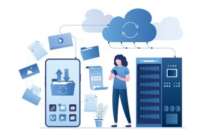 Plakat Big smartphone, female user uploading files in cloud storage. Upload and download data with remote servers via cloud technologies.