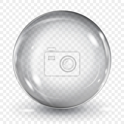 Plakat Big translucent gray sphere with glares and shadow on transparent background. Transparency only in vector format