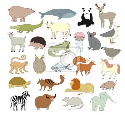 44d968f534a65 Plakat Big wektor zwierząt kolekcji samodzielnie na białym tle. Kolekcja  cute kreskówek zwierząt