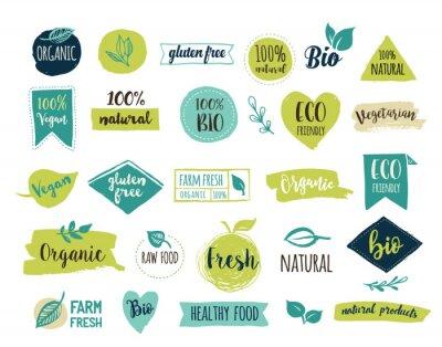 Plakat Bio, ekologia, logo organiczne i ikony, etykiet, metek. Ręcznie rysowane bio żywność zdrowe odznaki, zestaw surowe wegańskie, zdrowe jedzenie, organiczne znaki i elementy zestawu