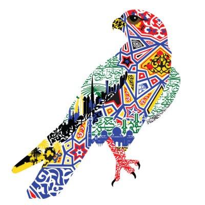 Plakat bird patterns and miniatures symbolizing UAE