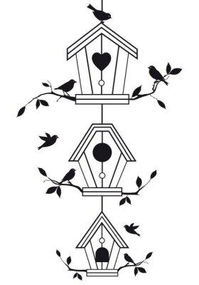 Plakat birdhouses z gałęzi drzew, wektor