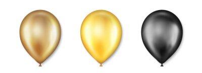 Plakat Birthday balloons vector set. Golden and black balloon for wedding celebration. Celebrate Anniversary, Helium gold balloon. Festival romantic decorations. Realistic birthday party elements. Vector