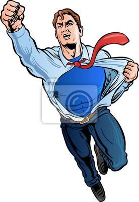 Plakat Biznesmen Superhero zgrywania koszulę odsłaniając logo