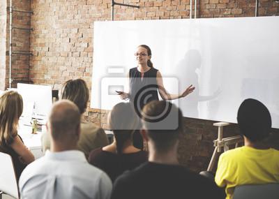Plakat Biznesu Drużynowy Szkoleniowy Słuchający spotkania pojęcie