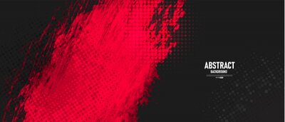 Plakat Black and red abstract grunge background with halftone style.