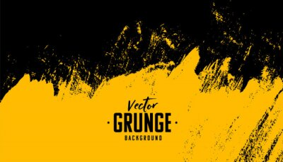 Plakat black and yellow abstract dirty grunge background