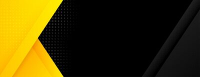 Plakat black banner with yellow geometric shapes
