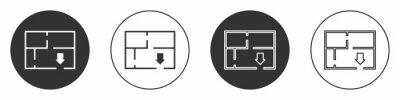 Plakat Black Evacuation plan icon isolated on white background. Fire escape plan. Circle button. Vector