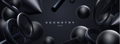 Plakat Black geometric 3d shapes backdrop. Abstract elegant background.