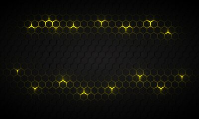 Plakat Black hexagonal technology abstract vector background with yellow bright energy flashes under hexagon. Dark honeycomb texture grid in tech futuristic background.