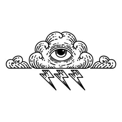 Plakat black line tattoo of an all seeing eye cloud