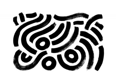 Plakat Black paint brush strokes vector collection. Hand drawn curved and wavy lines with grunge circles. Chaotic ink brush scribbles decorative set. Messy doodles, bold curvy lines illustration.