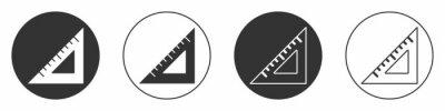 Plakat Black Triangular ruler icon isolated on white background. Straightedge symbol. Geometric symbol. Circle button. Vector