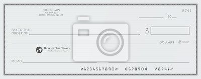 Plakat Blank bank cheque. Personal desk check template with empty field to fill.