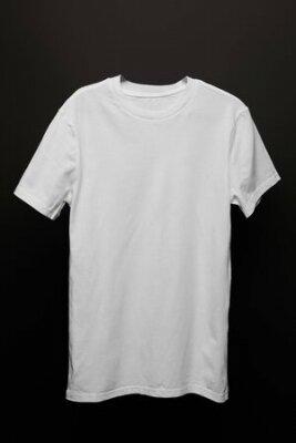 Plakat blank basic white t-shirt isolated on black