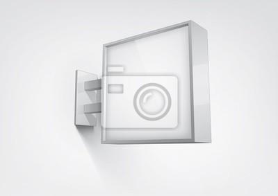 Blank, biały kwadrat okrągły warsztat znak wiszący na ścianie