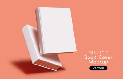 Plakat Blank book cover mockup layout design with shadows for branding. Vector illustration.