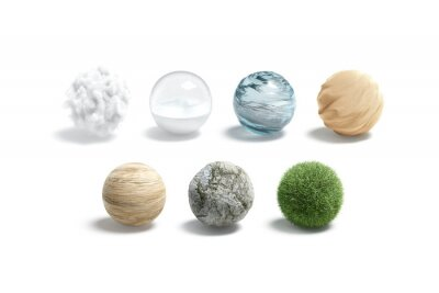 Plakat Blank nature textured ball mockup set, isolated