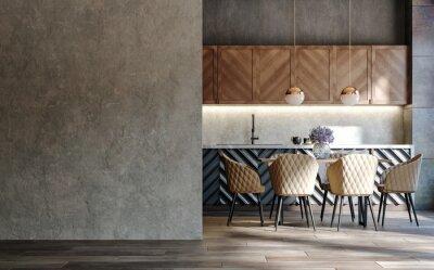 Plakat Blank wall mockup in loft interior background, industrial style ,3d render