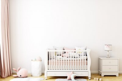Plakat blank wall nursery mockup boho, 3d rendering