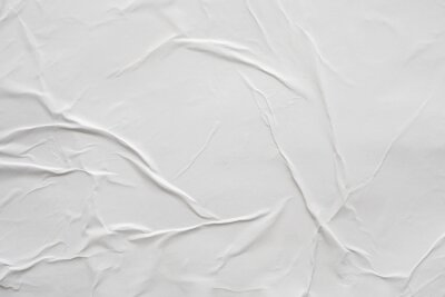 Plakat Blank white crumpled and creased paper poster texture background