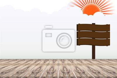 Plakat Błękitne niebo z podłogi z drewna tle