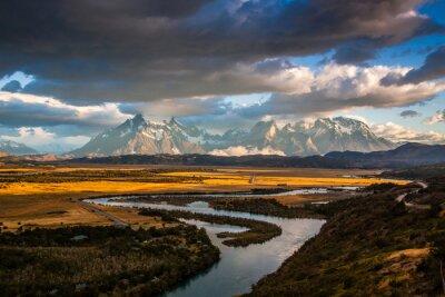 Plakat Blick auf das Torres del Paine Massiv