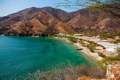 Plakat Blick auf Playa Grande, Taganga, Santa Marta (Colombia)