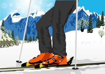 Plakat bliska narciarskiego niskim kątem