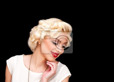 Plakat blond jak Marilyn Monroe w białej sukni z czerwonymi ustami