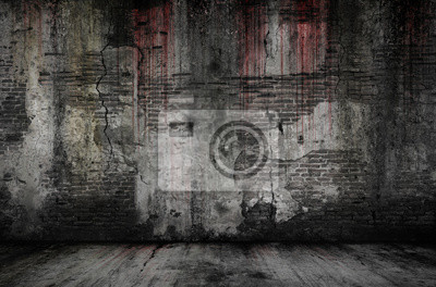 Plakat Bloody background scary old bricks wall and floor, concept of horror and Halloween