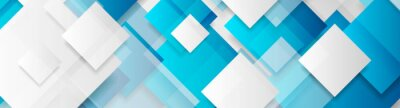 Plakat Blue and grey glossy squares abstract tech banner design. Geometric vector background